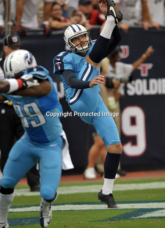 September 15 2013: Titans punter Brett Kern during 30 - 24 loss to the Texans at Reliant Stadium in Houston, TX.