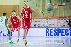 Dragisa Drobnjak and Aleksandar Ponjavic of KK Tajfun Sentjur during basketball match between KK Krka Novo mesto and KK Tajfun Sentjur at Superpokal 2015, on September 26, 2015 in SKofja Loka, Poden Sports hall, Slovenia. Photo by Grega Valancic / Sportida.com