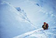 American mountaineer Kitty Calhoun during an attempt to climb the North Face of Thelay Sagar, Garwal Himal, India