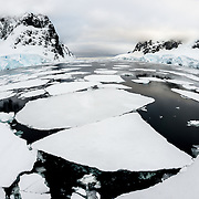 Large plates of sea ice cover most of the water of the Lemaire Channel on the western side of the Antarctic Peninsula.