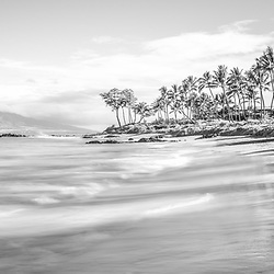 Maui Hawaii Mōkapu Beach black and white panoramic photo in Wailea Makena with Maalaea Bay and Pacific Ocean. Panorama photo ratio is 1:3. Copyright ⓒ 2019 Paul Velgos with All Rights Reserved.