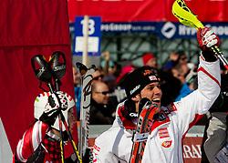 Second placed Nolan Kasper of USA and winner Mario Matt of Austria react during 2nd Run of Men's Slalom of FIS Ski World Cup Alpine Kranjska Gora, on March 6, 2011 in Vitranc/Podkoren, Kranjska Gora, Slovenia.  (Photo By Vid Ponikvar / Sportida.com)