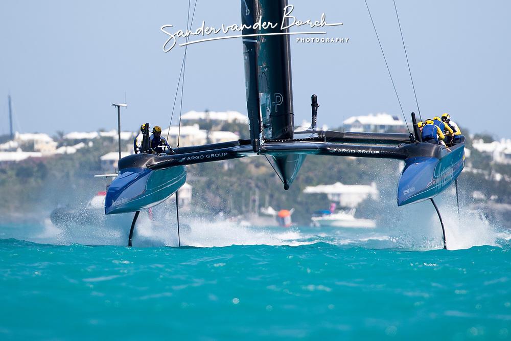First day of the Louis Vuitton America's Cup Semi-finals. Artemis Racing versus Softbank Team Japan, 1-1, 5th of June, 2017, Bermuda