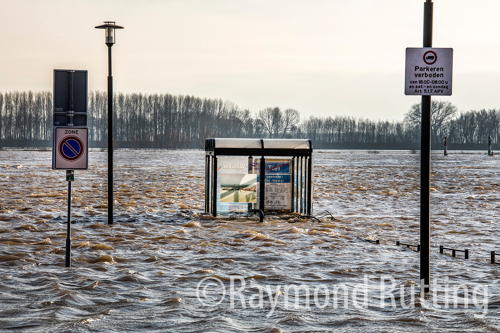 Netherlands- Tiel- The water level in the Rhine, Waal and Ijssel near the border with Germany was higher than expected  on Tuesday as rain and melting snow from the Alps continued to swell the volume of water in Dutch rivers. photo©raymond rutting