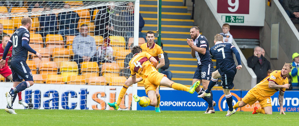 Ben Heneghan blocks a shot from Michael Gardyne during the match between Motherwell and Ross County (c) ROSS EAGLESHAM | Sportpix.co.uk