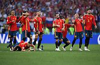 FUSSBALL  WM 2018  Achtelfinale ---- Spanien - Russland       01.07.2018 Jordi Alba, Rodrigo, Koke, Isco, Sergio Ramos, Dani Carvajal, Sergio Busquets, Iago Aspas und Gerard Pique (v.l., alle Spanien)