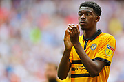 Newport County midfielder Tyreeq Bakinson (15) applauds the Newport County fans after the EFL Sky Bet League 2 Play Off Final match between Newport County and Tranmere Rovers at Wembley Stadium, London, England on 25 May 2019.