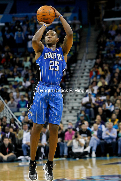 January 27, 2012; New Orleans, LA, USA; Orlando Magic point guard Chris Duhon (25) against the New Orleans Hornets during a game at the New Orleans Arena. The Hornets defeated the Magic 93-67.  Mandatory Credit: Derick E. Hingle-US PRESSWIRE