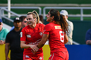 Bianca Farella of Canada celebrates scoring her try with team-mate <br /> <br /> Photographer Craig Thomas/Replay Images<br /> <br /> World Rugby HSBC World Sevens Series - Day 2 - Friday 6rd December 2019 - Sevens Stadium - Dubai<br /> <br /> World Copyright © Replay Images . All rights reserved. info@replayimages.co.uk - http://replayimages.co.uk