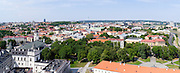 High-angle view of Vilnius taken from Gediminas Tower; Lithuania, looking over the Arsenal and up the Neris River.