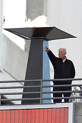 Nov 6, 2011; Oakland, CA, USA; Oakland Raiders former player Fred Biletnikoff lights a flame in honor of Al Davis (not pictured) before the game against the Denver Broncos at O.co Coliseum. Denver defeated Oakland 38-24. Mandatory Credit: Jason O. Watson-US PRESSWIRE