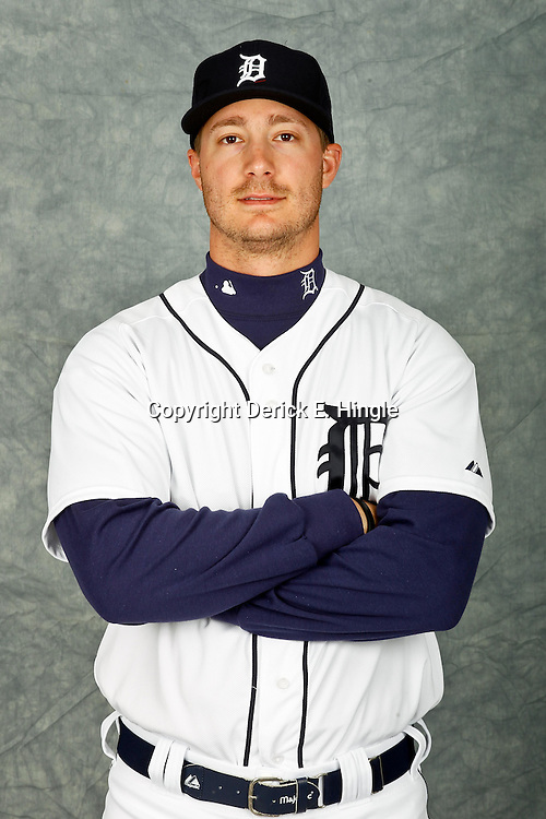 February 28, 2012; Lakeland, FL, USA; Detroit Tigers first baseman Ryan Strieby (63) poses for photo day in the rec room at the Detroit Tigers Headquarters.  Mandatory Credit: Derick E. Hingle-US PRESSWIRE