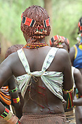 Africa, Ethiopia, Omo River Valley Hamer Tribe Women are willing to be whipped by relatives to show their loyalty and love. They do not flinch or show any sign of pain.