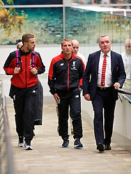 ADELAIDE, AUSTRALIA - Saturday, July 18, 2015: Liverpool's captain Jordan Henderson, manager Brendan Rodgers and Managing Director Ian Ayre arrive at Adelaide Airport ahead of a preseason friendly match against Adelaide United on day six of the club's preseason tour. (Pic by David Rawcliffe/Propaganda)