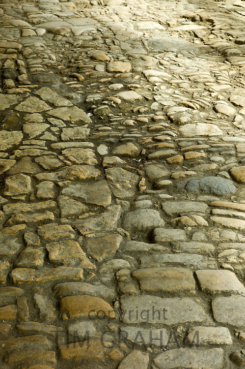 Traditional old flagstone floor in The Cotswolds, Gloucestershire