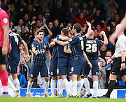 Southend player Adam Barrett celebrates after opening the scoring during the Sky Bet League 1 match between Southend United and Peterborough United at Roots Hall, Southend, England on 5 September 2015. Photo by Bennett Dean.