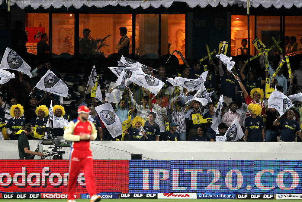 DC supporters during match 11 of the Indian Premier League ( IPL ) between the Deccan Chargers and the Royal Challengers Bangalore held at the Rajiv Gandhi International Cricket Stadium in Hyderabad on the 14th April 2011..Photo by Prashant Bhoot/BCCI/SPORTZPICS.