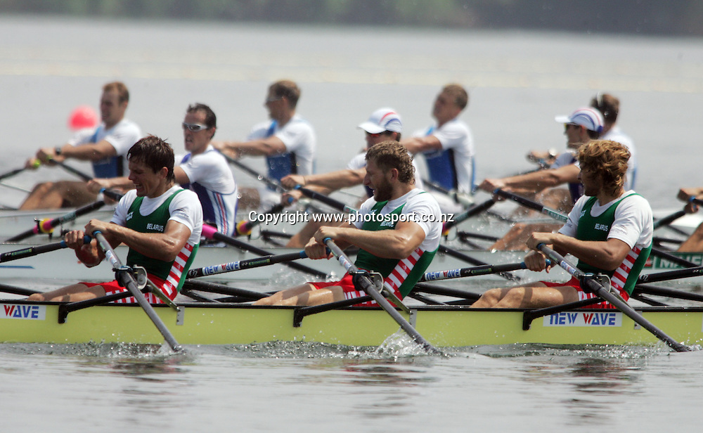 Balarus race in the Men's Quadruple Sculls A Semifinal at the World Rowing Championships, Gifu, Japan on Friday 2 September, 2005. Photo: Hannah Johnston/PHOTOSPORT<br /><br /><br /><br /><br />134002