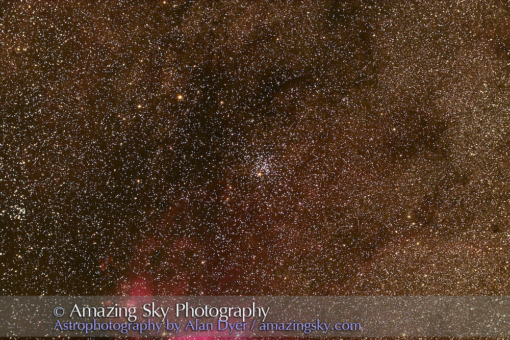 NGC 6242 open cluster in Scorpius. IC 4628 nebula in tail of Scorpius just on lower left edge of frame. Taken with 4-inch AP Traveler apo refractor at f/4.5 with Canon 20Da camera at ISO 800 for stack of 4 x 4 minute exposures. Taken from Coonabarabran, NSW, March 28, 2007.