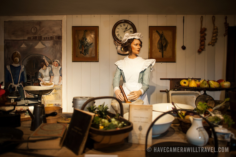 An exhibit showing a period kitchen setup at Sudeley Castle. Sudeley Castle dates back to the 15th century, although an even older castle might have once been on the same site. It was the final home and burial place of King Henry VIII's last wife, Queen Catherine Parr (c. 1512-1548).