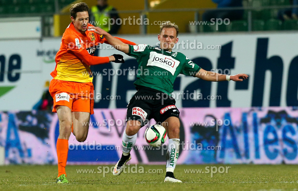 28.02.2015, Keine Sorgen Arena, Ried, AUT, 1. FBL, SV Josko Ried vs FC Admira Wacker Mödling, 22. Runde, im Bild Markus Lackner, (FC Admira Wacker Mödling) und Marcel Ziegl, (SV Josko Ried) // during Austrian Football Bundesliga Match, 22nd round, between SV Josko Ried and FC Admira Wacker Mödling at the Keine Sorgen Arena, Ried, Austria on 2015/02/28. EXPA Pictures © 2015, PhotoCredit: EXPA/ Roland Hackl