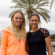 Caroline Wozniacki and golfer Nicole Castrale take part in the WTA All-Access Hour at the Indian Wells Tennis Garden in Indian Wells, California Tuesday, March 11, 2015.<br /> (Photo by Billie Weiss/BNP Paribas Open)