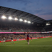 Claudio Pizarro, FC Bayern Munich, celebrates after scoring what proved to be the winning goal, in action during the FC Bayern Munich vs Chivas Guadalajara, Audi Football Summit match at Red Bull Arena, New Jersey, USA. 31st July 2014. Photo Tim Clayton