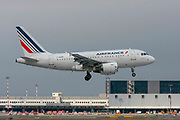 Airfrance Airbus A318 passenger jet at takeoff Photographed at Malpensa Airport, Milan, Italy