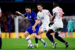 Mateo Kovacic of Chelsea is marked by Yusuf Yazici of Lille and Boubakary Soumare of Lille  - Mandatory by-line: Ryan Hiscott/JMP - 10/12/2019 - FOOTBALL - Stamford Bridge - London, England - Chelsea v Lille - UEFA Champions League group stage