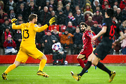 Mohamed Salah of Liverpool has a shot saved Jan Oblak of Atletico Madrid - Mandatory by-line: Robbie Stephenson/JMP - 11/03/2020 - FOOTBALL - Anfield - Liverpool, England - Liverpool v Atletico Madrid - UEFA Champions League Round of 16, 2nd Leg