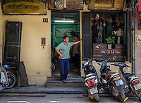 HANOI, VIETNAM - CIRCA SEPTEMBER 2014:  Restaurant Cha Ca La Vong in Hanoi, Vietnam.