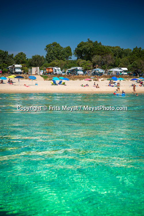Costa Rei, Sardinia, Italy, June 2015. Camping Capo Ferrato is situated right on the beach. Costa Rei is located on the south coast of Sardinia about 50km from Cagliari. The coastline is renowned for its crystal clear water, golden sands and long beaches. Photo by Frits Meyst / MeystPhoto.com