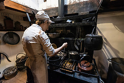 Interior of ship's galley or kitchen on the RSS Discovery ship berthed at Discovery Point in  in Dundee ,Tayside, Scotland,
