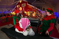 """Snowy"" and ""Mittens"" transport Sonya Frost to the North Pole in Santa's sleigh at Christmas Village.  (Karen Bobotas/for the Laconia Daily Sun)"