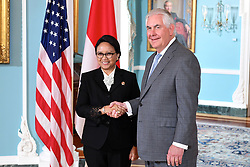 May 4, 2017 - Washington, DC, United States of America - U.S. Secretary of State Rex Tillerson greets Indonesian Foreign Minister Retno Marsudi before bilateral talks at the State Department May 4, 2017 in Washington, D.C. (Credit Image: © Glen Johnson/Planet Pix via ZUMA Wire)