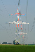 white and red electric pylons