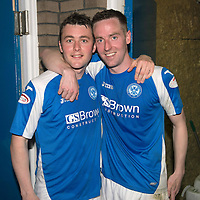 St Johnstone v Motherwell.....19.05.13      SPL<br /> Tom Scobbie and Steven MacLean at full time<br /> Picture by Graeme Hart.<br /> Copyright Perthshire Picture Agency<br /> Tel: 01738 623350  Mobile: 07990 594431