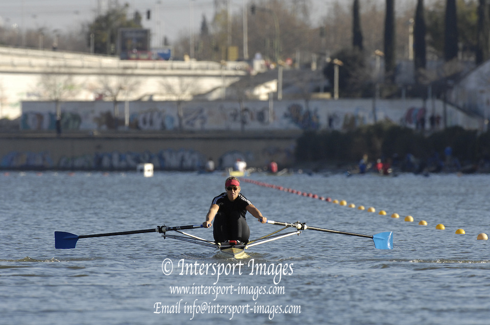 Seville. SPAIN, 18.02.2007, RSA W1X Rika GEYSER, moves away from the start pontoon during Sunday morning's  heats, at the FISA Team Cup, held on the River Guadalquiver course. [Photo Peter Spurrier/Intersport Images]    [Mandatory Credit, Peter Spurier/ Intersport Images]. , Rowing Course: Rio Guadalquiver Rowing Course, Seville, SPAIN,