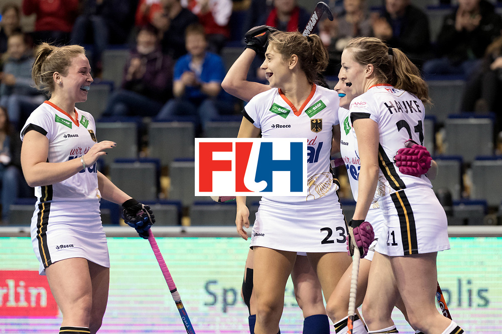 BERLIN - Indoor Hockey World Cup<br /> Women: Germany - Russia<br /> foto: Germany celebrates.<br /> WORLDSPORTPICS COPYRIGHT FRANK UIJLENBROEK