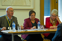 Pictured: Economist Jim and Margaret Cuthbert sit on eitherside of Jackie Bailie<br /> <br /> Labour Economy spokeswoman Jackie Baillie MSP today  unveiled an independente study by economists Jim and Margaret Cuthbert into how the Scottish Futures Trust operates. <br /> <br /> Ger Harley | EEm 18 October 2017