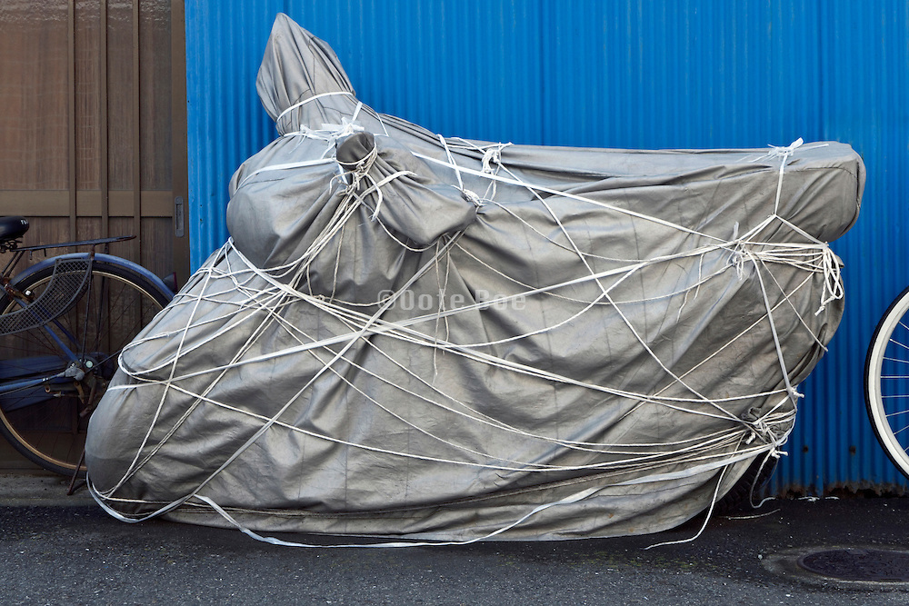 a very well wrapped up motorcycle