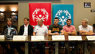 (L-R) Andre Peeters & Legia's trainer coach Jan Urban & Boguslaw Galazka - Director of Special Olympics Poland  & Legia's Michal Zewlakow & Legia's Wladimer Dwaliszwili & Legia's Daniel Lukasik while official draw before Special Olympics's Football Tournament at Legia Stadium in Warsaw on May 22, 2013..The mission of Special Olympics is to provide sports training and athletic competition for children and adults with intellectual disabilities...Poland, Warsaw, May 22, 2013...Picture also available in RAW (NEF) or TIFF format on special request...For editorial use only. Any commercial or promotional use requires permission...Photo by © Adam Nurkiewicz / Mediasport