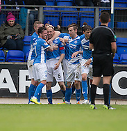St Johnstone&rsquo;s Steven Anderson is congratulated after scoring - St Johnstone v Dundee, Ladbrokes Scottish Premiership at McDiarmid Park, Perth. Photo: David Young<br /> <br />  - &copy; David Young - www.davidyoungphoto.co.uk - email: davidyoungphoto@gmail.com