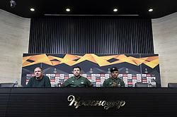 November 7, 2018 - Krasnodar, Russie - Murad Musayev manager coach of Krasnodar and Ari of Krasnodar during a press conference prior to the UEFA Europa League group J match between Futbolny Klub Krasnodar and Standard de Liege (Credit Image: © Panoramic via ZUMA Press)