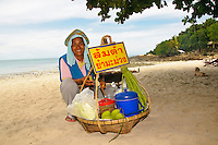 Beach vendor selling food, Koh Samet, Thailand