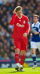 BIRMINGHAM, ENGLAND - Sunday, April 4, 2010: Liverpool's Fernando Torres looks dejected as his side draw 1-1 with Birmingham City during the Premiership match at St Andrews. (Photo by David Rawcliffe/Propaganda)