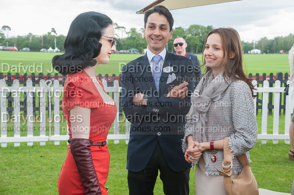 DITA VON TEESE; FRANCOIS LE TROQUER and his wife LIUDMILA LE TROQUER, Cartier Queen's Cup. Guards Polo Club, Windsor Great Park. 17 June 2012