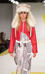 © Licensed to London News Pictures. 01/06/2015. London, UK. Collection by Jennifer Hayward. Fashion show of De Montfort University (Leicester) at Graduate Fashion Week 2015. Graduate Fashion Week takes place from 30 May to 2 June 2015 at the Old Truman Brewery, Brick Lane. Photo credit : Bettina Strenske/LNP