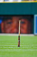 June 21, 2009: A bat on the field during the MLB game between Milwaukee Brewers and Detroit Tigers at Comerica Park, Detroit, Michigan.