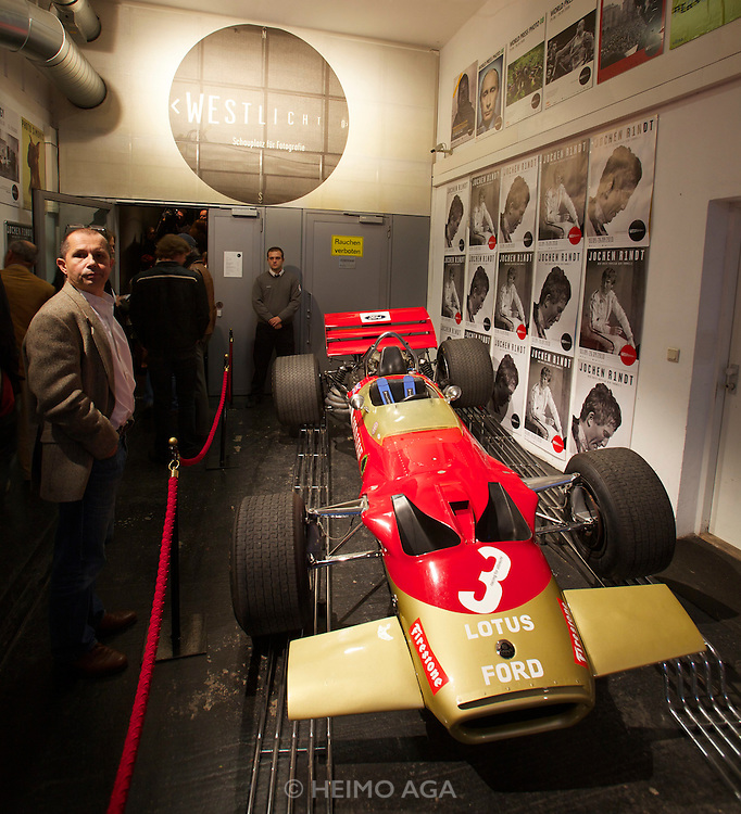 "Vienna. Opening of the Exhibition ""Jochen Rindt - Formula 1's first Pop Star"" at Galerie Westlicht..Jochen Rindt's Lotus 49 in which he won the 1970 Monaco Grand Prix - maybe his best race ever."